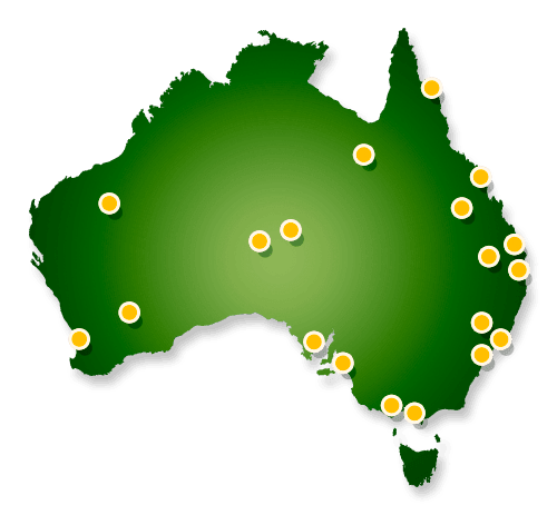 Map of our filming projects Australia wide