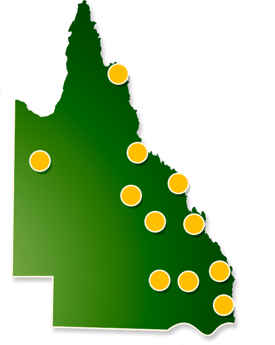 Map of our filming projects throughout regional Queensland